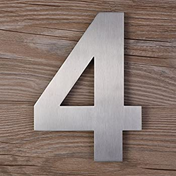 Qt modern house number extra large 10 inch brushed for Big modern house numbers