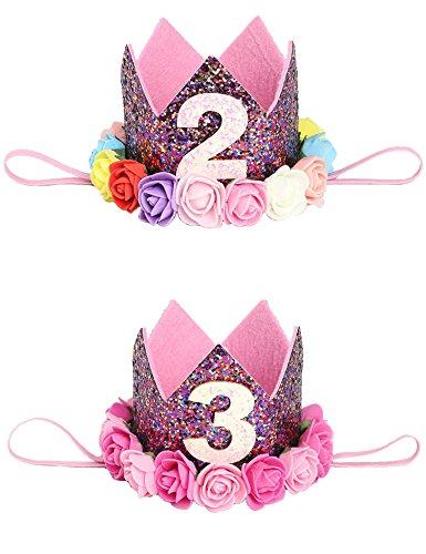 Party Dress Portrait (Children Rose Crown headwear for baby birthday party Portrait headdress,2 pcs (06))