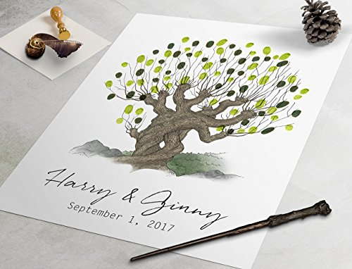 - Whomping Willow Guest Book - Harry Potter custom wedding guestbook, fingerprint guest book, fingerprint tree, guestbook alternative