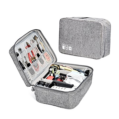 - ZRSE Electronic Organizer Travel Universal Gadget Bag Cable Organizer Electronics Accessories Cases for iPad Mini,Kindle,Power Adapter,Portable Compact Grey