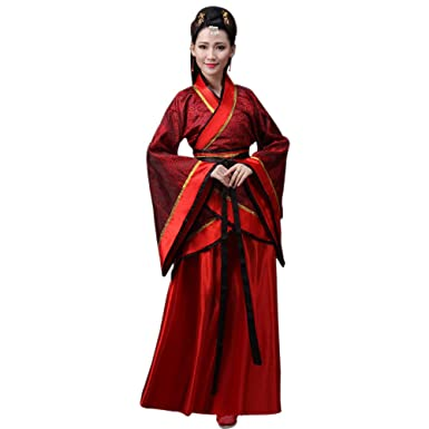 49cb2181e ZEVONDA Women's Ancient Chinese Bride Costume Tang Suit National  Traditional Hanfu Cosplay Performances Clothes, Red