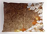 Lunarable Grunge Pillow Sham, Flowers and Leaves Pattern on Cracked Wall with Floral Lines Classic Design, Decorative Standard Queen Size Printed Pillowcase, 30 X 20 inches, Brown Off White