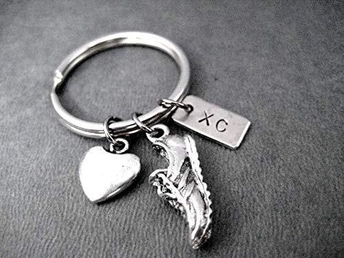 LOVE TO RUN XC Key Chain - Heart, Running Shoe Charm and Nickel Silver XC Pendant on Round Stainless Steel Key Ring ()