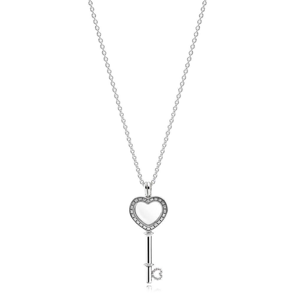 01954fcef6171 Amazon.com: PANDORA Floating Locket Heart Key Necklace - 396581CZ-80 ...