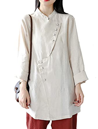 869b2390 Minibee Women's Button Linen Shirts Coat Irregular Retro Blouse Tops Beige  at Amazon Women's Clothing store: