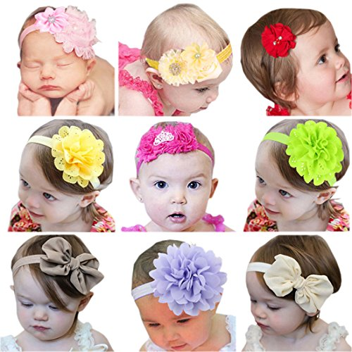 Emitha Baby Beautiful Flower Headbands Hair Accessories 9 style (Peruvian Paper)
