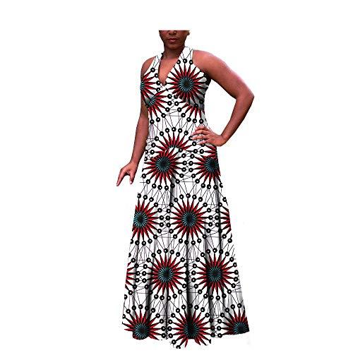 African Ankara Print Women Casual Style Dress Sleeveless Ankle Length 100% Batik Cotton Made AA722516 263X M