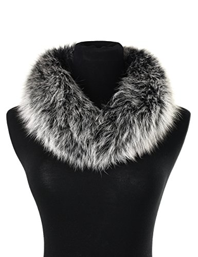 Collar Neck - Ferand Women's Elegant Warm Real Fox Fur Stand-up Collar Scarf, Soft Neck Warmer for Winter, Black frost