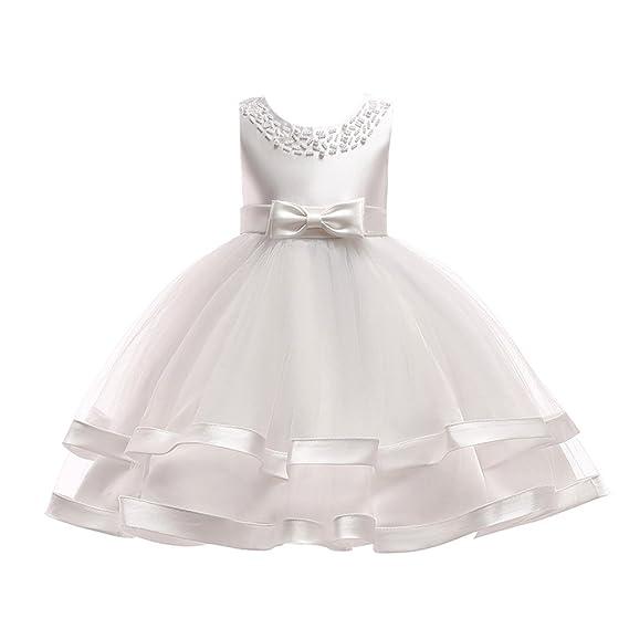 Longra Vestito Ragazza Senza Maniche Gonna Tutu Bambini Carnevale Cosplay  Abiti Principessa Abito da Sposa Cerimonia Elegante Vestito Alta qualità  4-12 ... 47255d81f88
