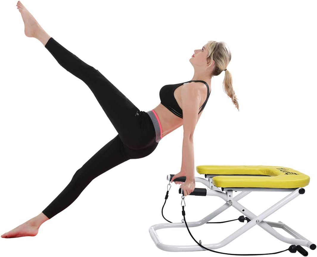 Headstand Bench Yoga with Handles, Doufit IT-02 Inversion Stool for Head Stand Exercise, Headstand Chair for Workout at Home with Resistance Bands