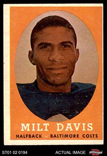 1958 Topps # 98 Milt Davis Baltimore Colts (Football Card) Dean's Cards 4 - VG/EX Colts
