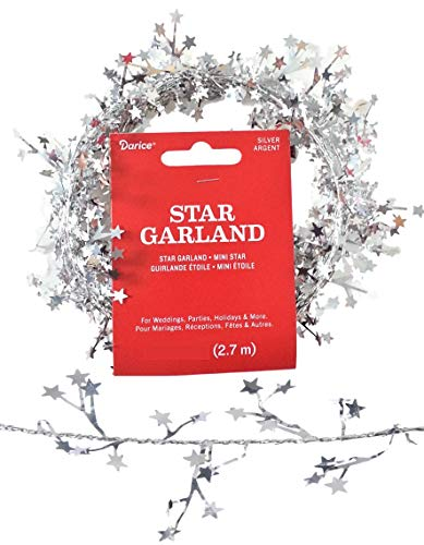 Christmas Silver Mini Star Foil Garland - 4 x 9 ft (36 ft Total) - for Christmas Holiday Decorations, Home Décor, Weddings, Parties, Miniature Trees, Photo Frames, More! - Cut to The Size You Want! -