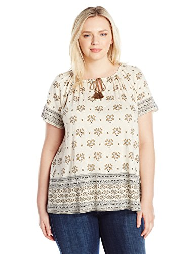 Lucky Brand Women's Plus Size Border Print Top, Natural Multi, 3X