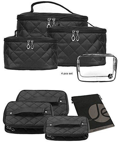 JAVOedge Quilted Makeup Brush Cosmetic Travel Organizer Bag w/ Clear PVC Zipper Bag (4 PCS Set: XSM, SM, MED, LG Sizes) (Quilted Bag Cosmetic)