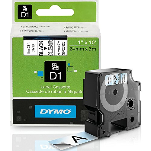 DYMO(R) D1 53710 D1 Black-On-Clear Tape, 1in. x 23ft. - Execulabel Label Maker