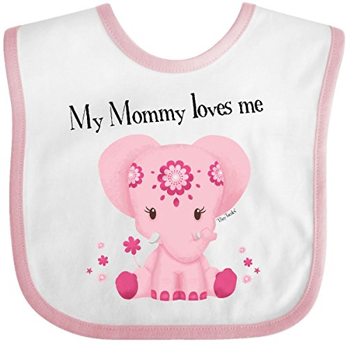 Inktastic - Aditi My Mommy loves me Pink Baby Bib White/Pink - Tiny Tusks 30363