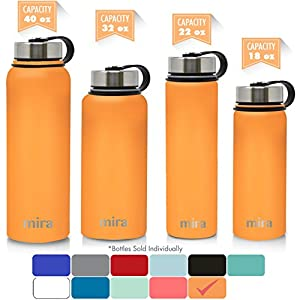 MIRA 40 Oz Stainless Steel Vacuum Insulated Wide Mouth Water Bottle | Thermos Keeps Cold for 24 hours, Hot for 12 hours | Double Walled Powder Coated Travel Flask | Pumpkin