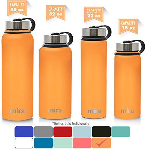 MIRA 32 Oz Stainless Steel Vacuum Insulated Wide Mouth Water Bottle | Thermos Keeps Cold for 24 hours, Hot for 12 hours | Double Wall Powder Coated Travel Flask | Pumpkin