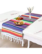 Auranso Mexican Table Runner 14 x 84 inch Cotton Striped Weave Dining Table Runner Rainbow Mexican Blanket for Party Festival Decorations