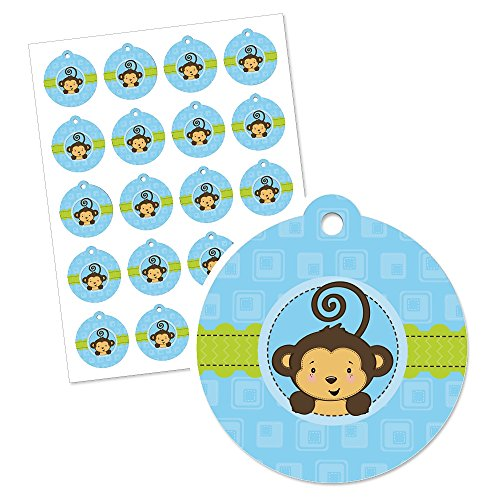 Blue Monkey Boy - Baby Shower or Birthday Party Favor Gift Tags (Set of 20)
