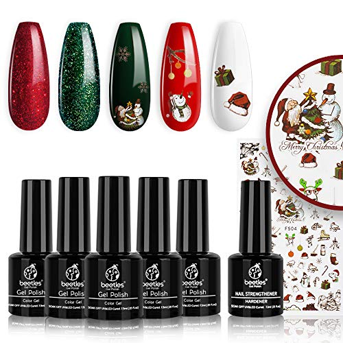 Beetles Gel Nail Polish Set, Christmas Holiday Collection Sparkle Red Green Gel Polish Kit Soak Off UV LED Gel Nail Kit Manicure Gift with Nail Strengthener Gel and Christmas Stickers