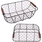 Set of 2 Country Rustic Black Metal Chicken Wire Nesting Storage Baskets with Wood Handles