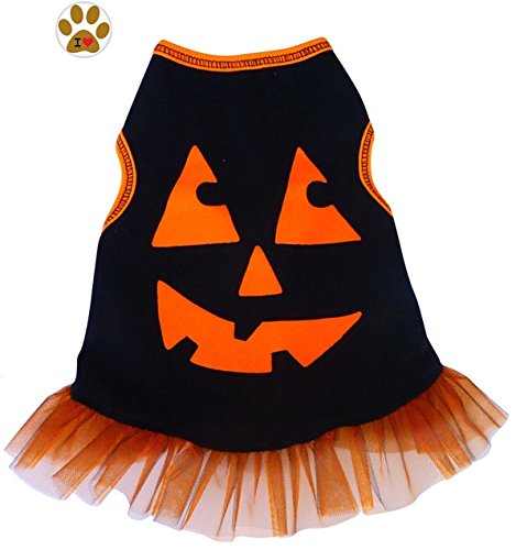 Pumpkin Face Black/Orange Metallic Tulle Skirted Tank Dress with Button Pin - Dog Sizes XS thru L (M - Chest 16