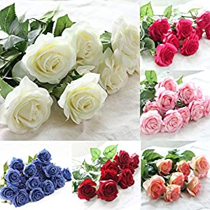 FidgetGear 10-40 Heads Real Touch Latex Rose Flowers Bouquet Wedding Party Home Decoration 11