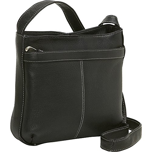 le-donne-leather-shoulder-bag-w-exterior-zip-pocket-black