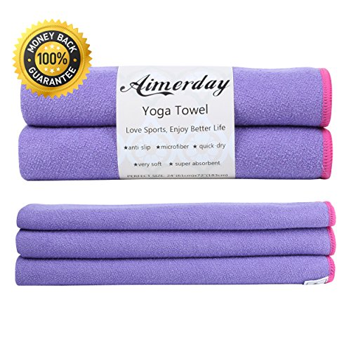 AIMERDAY Premium Hot Yoga Mat Towel 72 x 24'' Non Slip Towel Super Soft Sweat Absorbent Bikram, Perfect Size for Pilates, Gym, Workout, Fitness Sports Towels