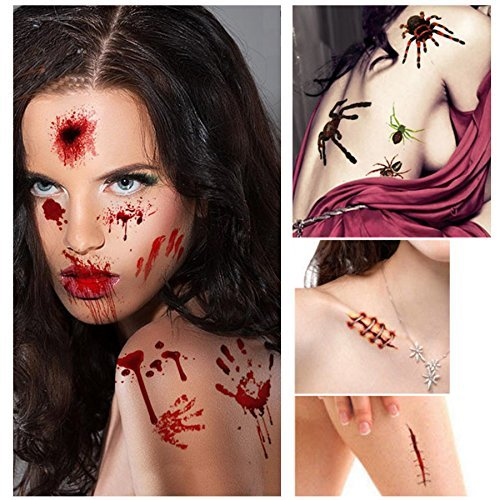 Halloween Temporary Tattoos 10 Sheets 80+ Pcs with Bloody Wound Scars Scab Spiders Pumpkin Waterproof Stickers