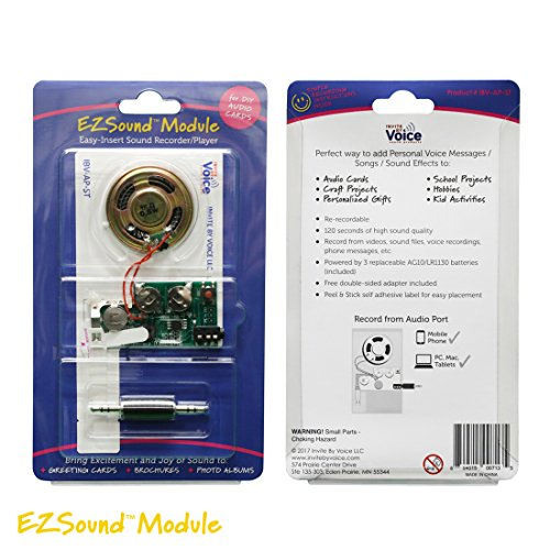 EZSound Module for DIY Audio Cards - Easy to Record - 120 Seconds Recording - High Sound Quality (120 Audio)