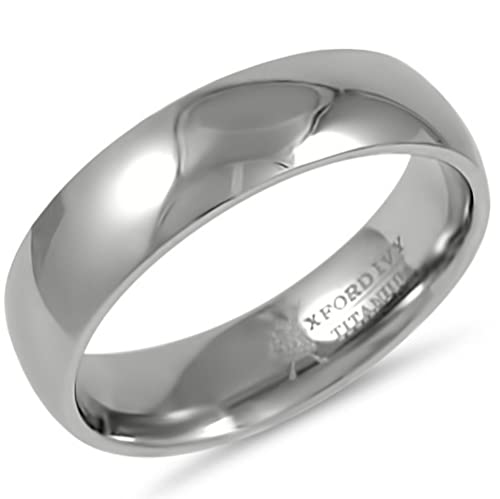 Oxford Ivy 6mm Mens Comfort Fit Titanium Plain Wedding Band