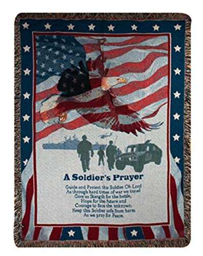 Patriotic Soldier's Prayer Inspirational Tapestry Throw Blanket 50
