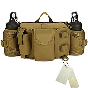 Larkoo Ranger Backpack - Multifunctional Vintage Waist Hand Single Shoulders Bag Outdoor Jungle Camouflage Fanny Pack Pouch Hip Belt with Double Water Bottle Holder (Brown)