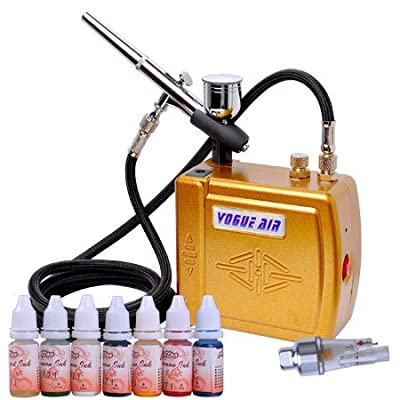 Airbrush Air Compressor Paint Ink Kit Hobby Body Makeup Nair Art Cake Tattoo Dual Action Spray