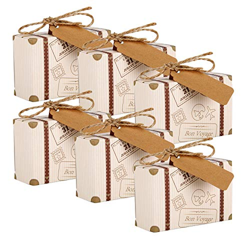 Mini Suitcase Favor Box, 50pcs Party Favor Candy Box Vintage Kraft Paper Boxes with Tags and Burlap Twine for Party Supplies]()
