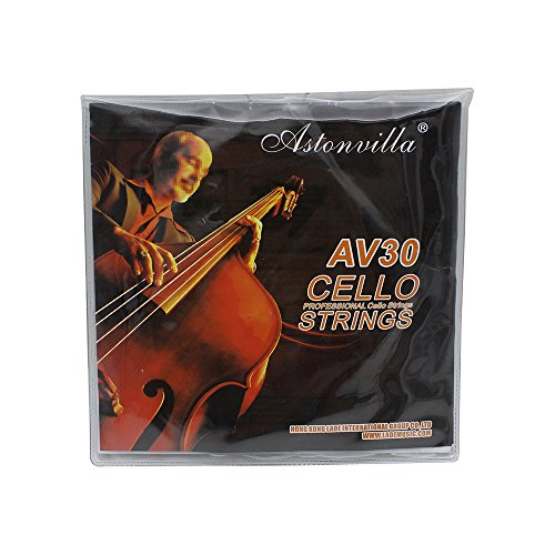 Andoer 4pcs Cello String Set C-G-D-A Steel Core Nickel Silver Wound Exquisite Stringed Musical Instrument Parts Accessories