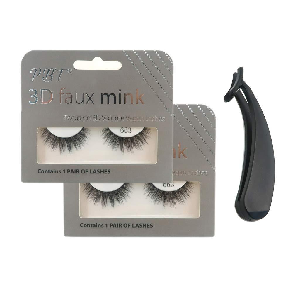 5138d67a833 Amazon.com : PBTLash Korean silk 3D faux mink eyelashes-663 (2 pack) :  Beauty