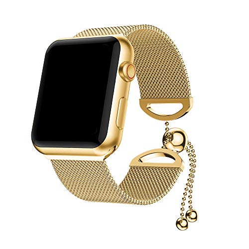 (Weite Compatible for Apple Watch Band, [44mm] Feminine Milanese Stainless Steel Replacement Bracelet Strap with Adjustable Bead Chain Clasp for Women Girls iWatch Series 4)