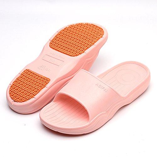 fankou Baño Interior Baño Antideslizante Cool Zapatillas Mujeres Home Stay Espesor Suave Abajo par Pisos Zapatillas Verano Macho,39-40,C- Luz Rosa