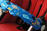 Lollibar Stroller Safety Handlebar Cover in Pattern ''SHARK ATTACK'' Blue Background with Multi-Colored Sharks