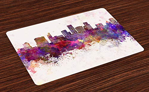 Ambesonne Minnesota Place Mats Set of 4, Panoramic View St Paul City Architecture with Abstract Smudged Aquarelle Effect, Washable Fabric Placemats for Dining Room Kitchen Table Decoration, -