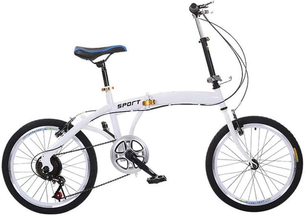 Bycloth Los Estudiantes de la Bici Plegable Ligera Adultos de la Bicicleta 6-Speed Mecanismo de transmisión Delantero y Trasero,para Montar a Caballo de la Ciudad y los desplazamientos,20-Inch