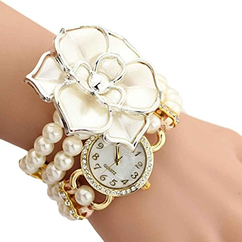 Binmer(TM) Women Flowers Pearl Wrapped Bracelet Watch Ladies Fashion Students Watch (Dress Watch Bracelet)