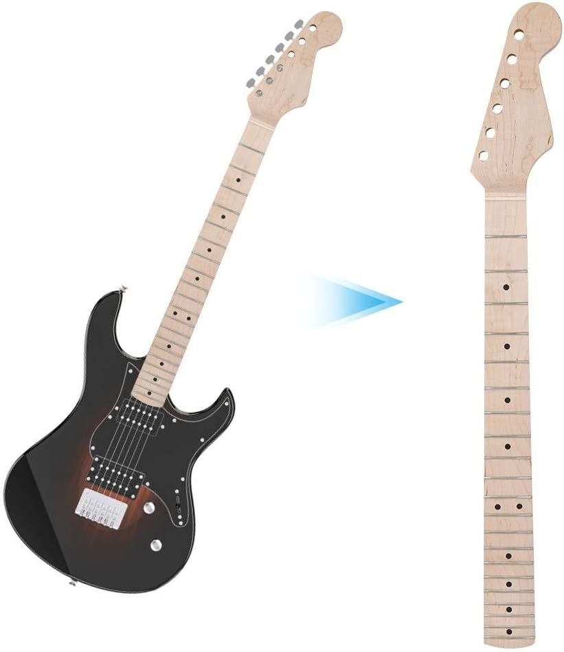 Electric Guitar Neck,21 Fret Unfinished Maple Wood Neck And Fingerboard Diy Guitars Parts Replacement for Neck Replacement Of Electric Guitars Natural