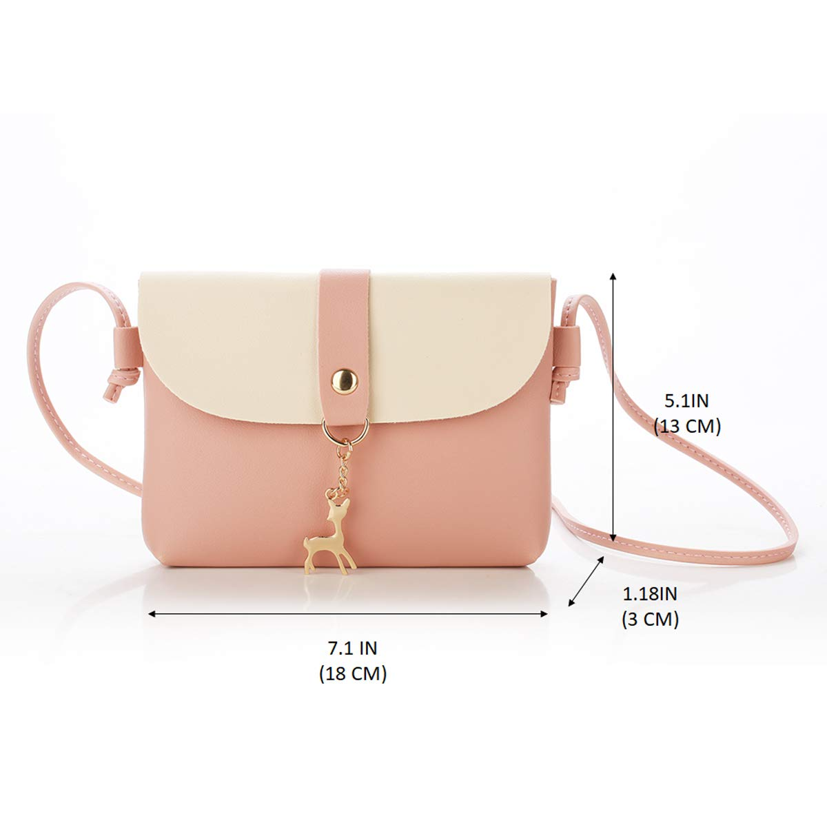 Small Crossbody Purse for Women With Pendant,PU Leather Crossbody Bag With Strap Cell Phone Bag for Girl,Pink by Lanling (Image #2)