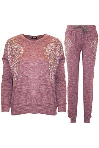 Womens Ladies Sequin Angel Wings Diamante Marl Loungewear Lycra Tracksuit Set