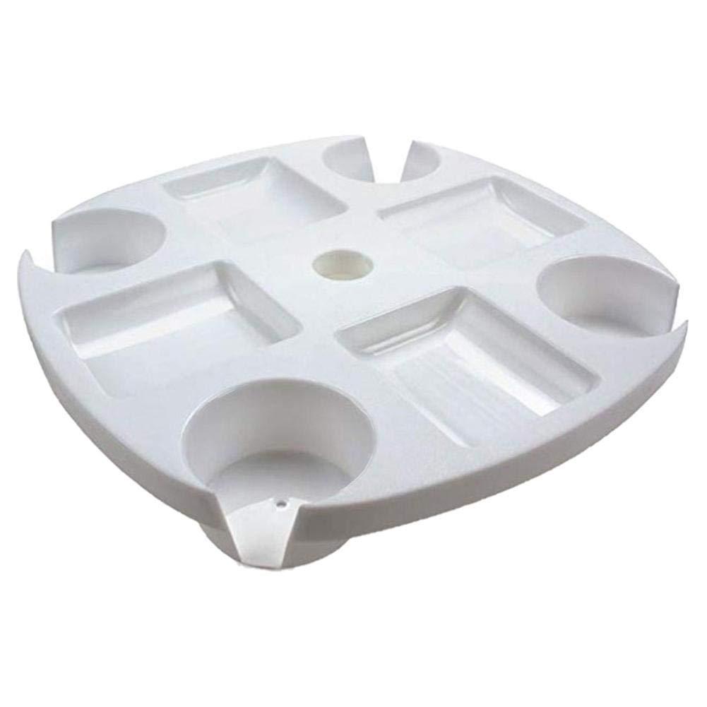 Jiang Hui Tavolo Tavolino Vassoio 8 Vani Fisso per Ombrellone Porta Bicchieri 17 Pollici, Bianco