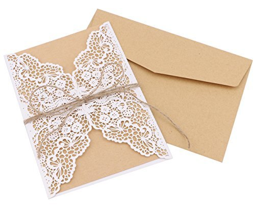 DriewWedding 20PCs Laec Wedding Party Invitation Cards, Hollow
